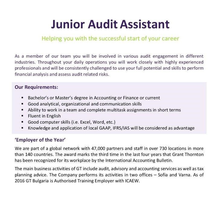 Junior Audit Assistant Open Position